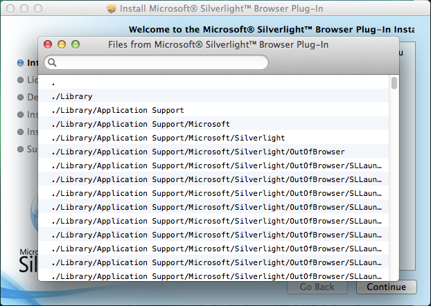 "The ""Show Files"" window lists each file that is included in the installer package."